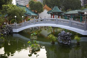 Chinese Good Fortune Water Garden Bridge Reflection Wong Tai Sin