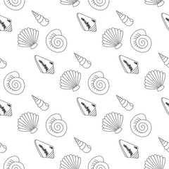seamless pattern with seashells.  Beautiful marine design elements, perfect for prints and patterns