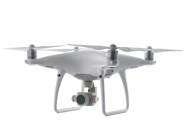 Flying drone quadcopter isolated on white with clipping path Wall mural