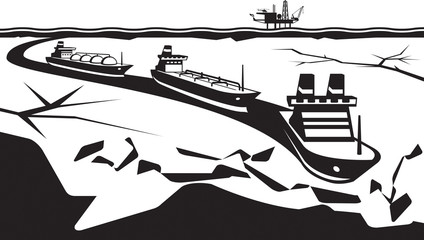 Icebreaker make way for industrial ships - vector illustration