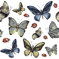 Watercolor seamless pattern with butterfly and ladybug. Hand painted insect ornament isolated on white background. Illustration for design, print or fabric.