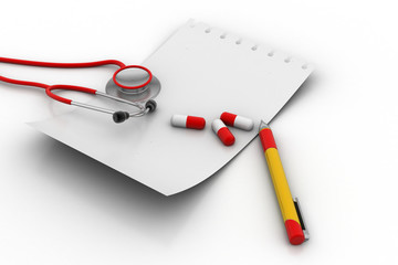 Note pad with stethoscope and tablets