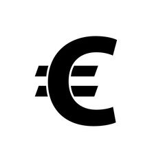 Euro icon. Black icon isolated on white background. Euro simple silhouette. Web site page and mobile app design vector element.