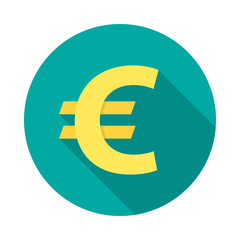 Euro circle icon with long shadow. Flat design style. Euro simple silhouette. Modern round icon in stylish colors. Web site page and mobile app design vector element.