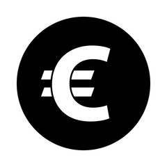 Euro circle icon. Black round icon isolated on white background. Euro simple silhouette. Web site page and mobile app design vector element.