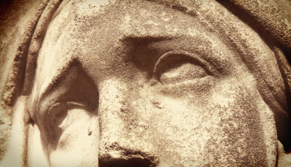 Face of Virgin Mary (fragment of antique statue)