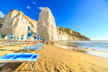 View of beach in Vieste, Capo Gargano, Italy