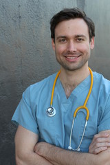 Empathetic doctor smiling close up