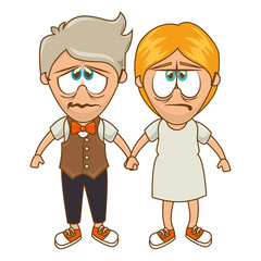 cute couple character sixty style vector illustration design
