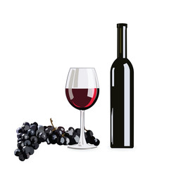Bottle and Glass of Red wine with grapes isolated on white background Vector