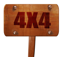 4x4, 3D rendering, text on wooden sign
