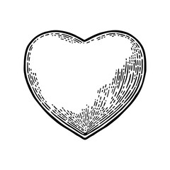Heart. Vector black vintage engraving illustration