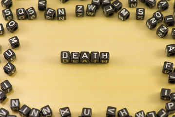 The word death on wood background