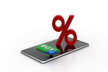Smart phone with percentage sign