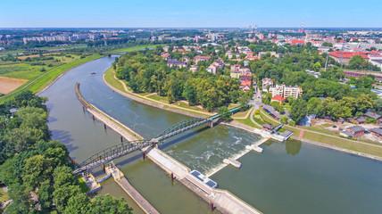 Opole, panorama z lotu ptaka znad wyspy Bolko