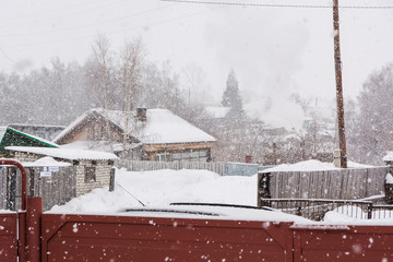 The winter and snow falls