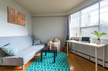Cozy studio student apartment with a combined living room and office. Interior design.