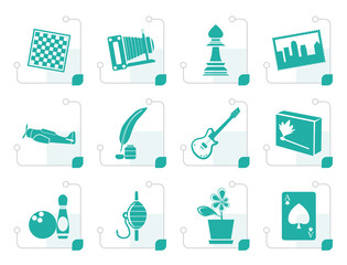 Stylized Hobby, Leisure and Holiday Icons - Vector Icon Set