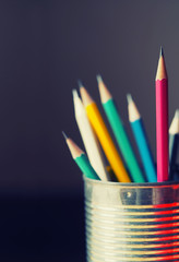 Pencils with vintage filter and blurred focus for background, abstract business and education
