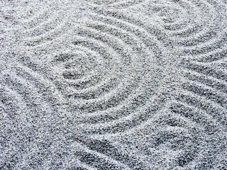 Wavy sand pattern in Japanese rock garden