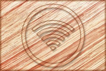 wireless sign on wooden board