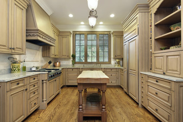Kitchen with butcher block island