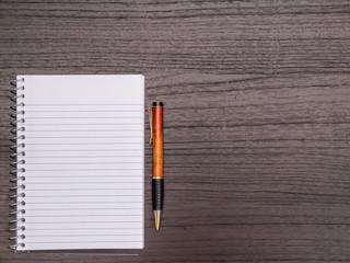 Wood Desktop, Spiral Notebook, Pen on Desk