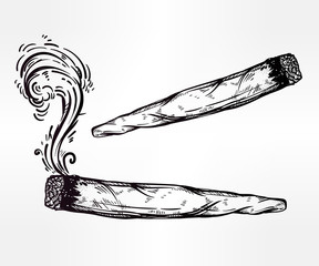 Two kinds of weed joint or spliff drawings.