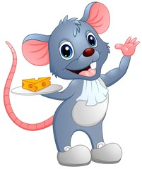 Cartoon mouse holding a slice of cheese on a plate