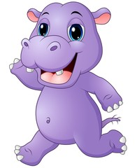 Cartoon hippo running