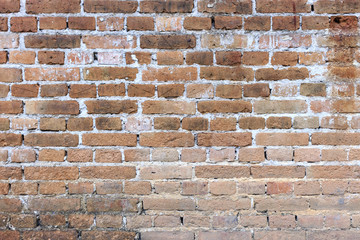 close-up old red brick wall texture background