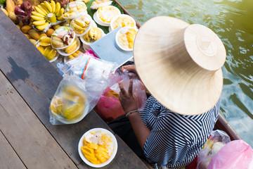 """Thailand most famous floating market """"Damduen Saduak"""" in Ratchaburi province."""