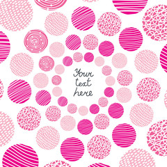 Pink postcard with polka dot.