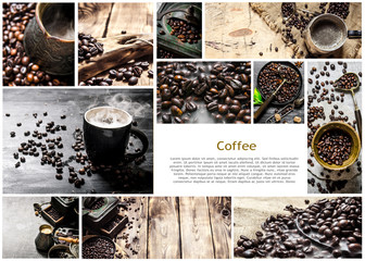 Food collage of coffee .