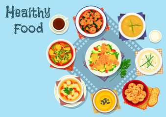 Rich soup and seafood dishes icon, food design