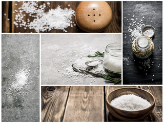 Food collage of salt .