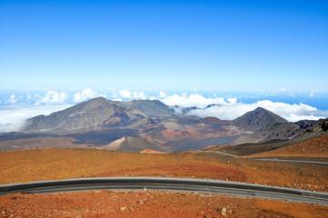 Haleakala volcanic crater seen from the summit of Haleakala mountain (East Maui Volcano) at 3055 meters above sea level. Located on the island of Maui, Hawaii, USA. Haleakala National Park.