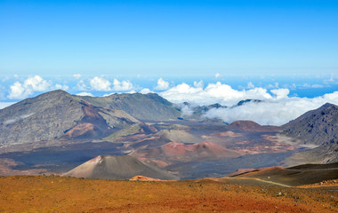 Haleakala volcanic crater seen from the summit of Haleakala mountain (East Maui Volcano) at 3055 meters above sea level. Located on the island of Maui, Hawaii, USA. Haleakala National Park.