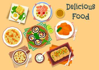Lunch dishes icon for festive menu design