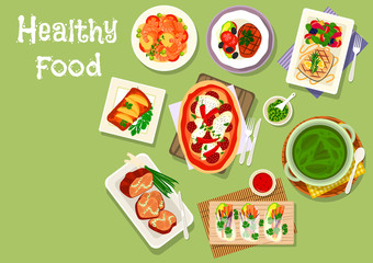 lunch meal dishes icon for healthy food design