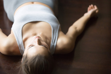 Shavasana yoga posture on the floor
