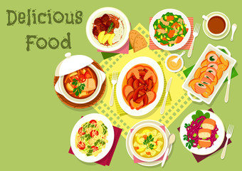 Meat and fish dishes with pasta and veggies icon
