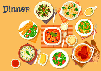 Dinner icon with dishes of italian, german cuisine