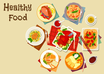 Seafood and meat dishes with vegetables icon