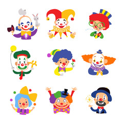 Set of clown cartoon icon isolated on white background. Vector illustration.