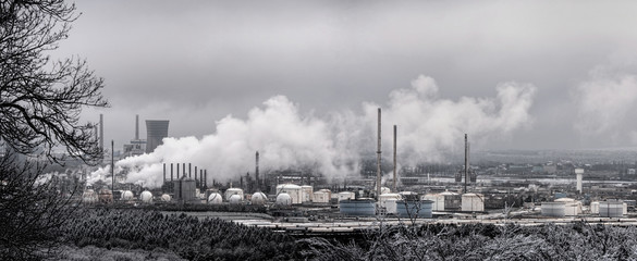 Chemical and petroleum factory in winter