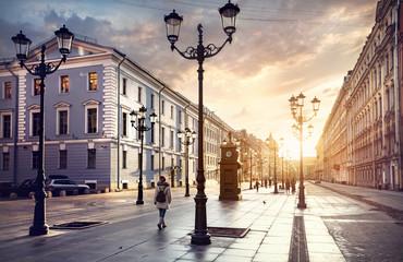 Tourist on the street of Saint Petersburg