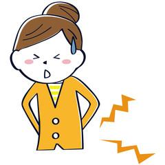 かわいい線画の女性 上半身 纏め髪 腰痛