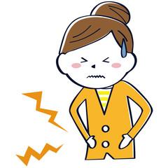 かわいい線画の女性 上半身 纏め髪 腹痛