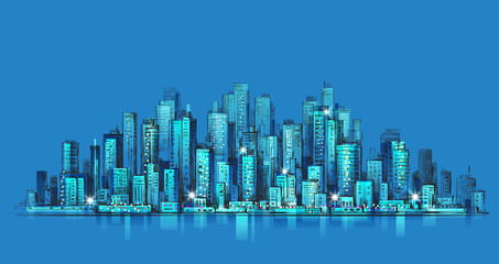 City skyline panorama at night, hand drawn cityscape, vector drawing architecture illustration